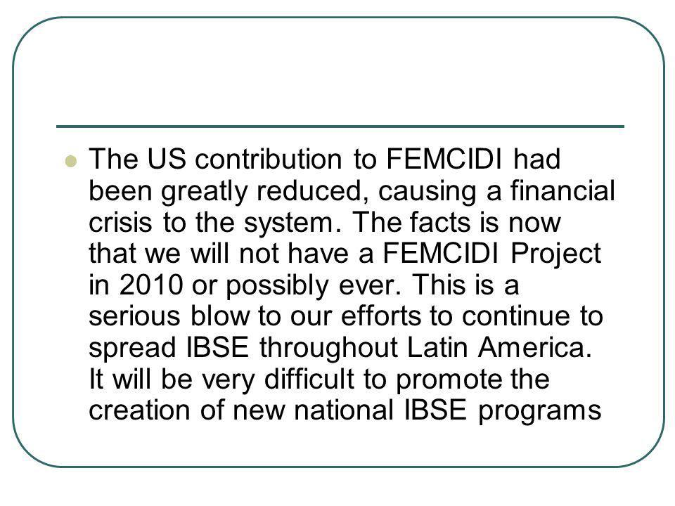 The US contribution to FEMCIDI had been greatly reduced, causing a financial crisis to the system.