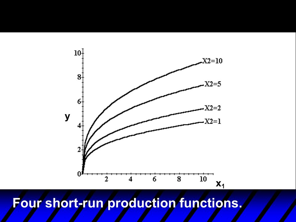 Four short-run production functions.