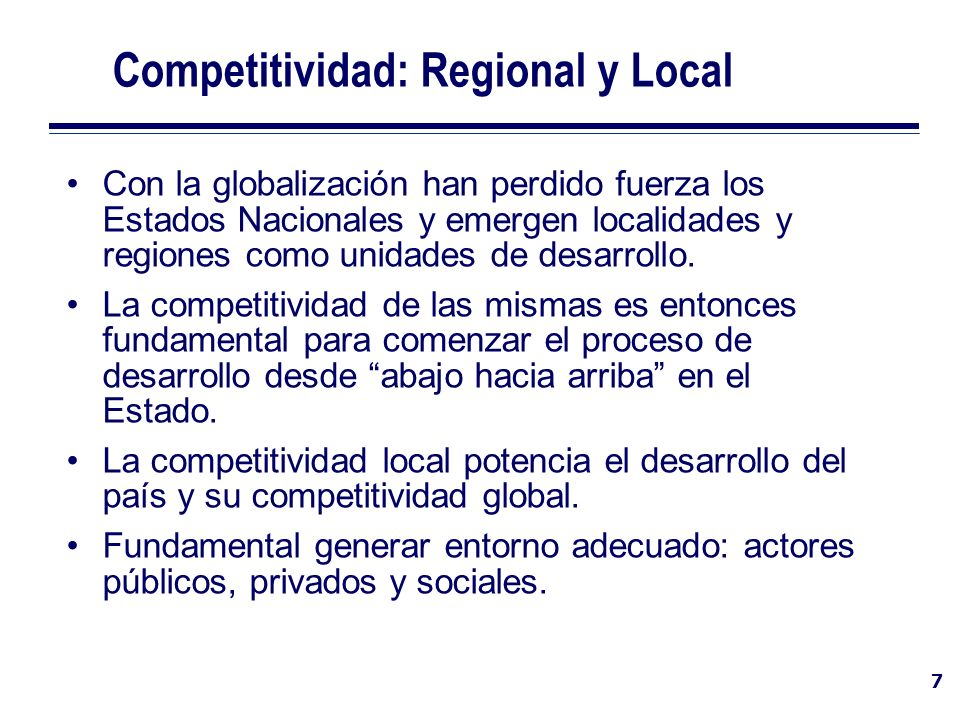 Competitividad: Regional y Local