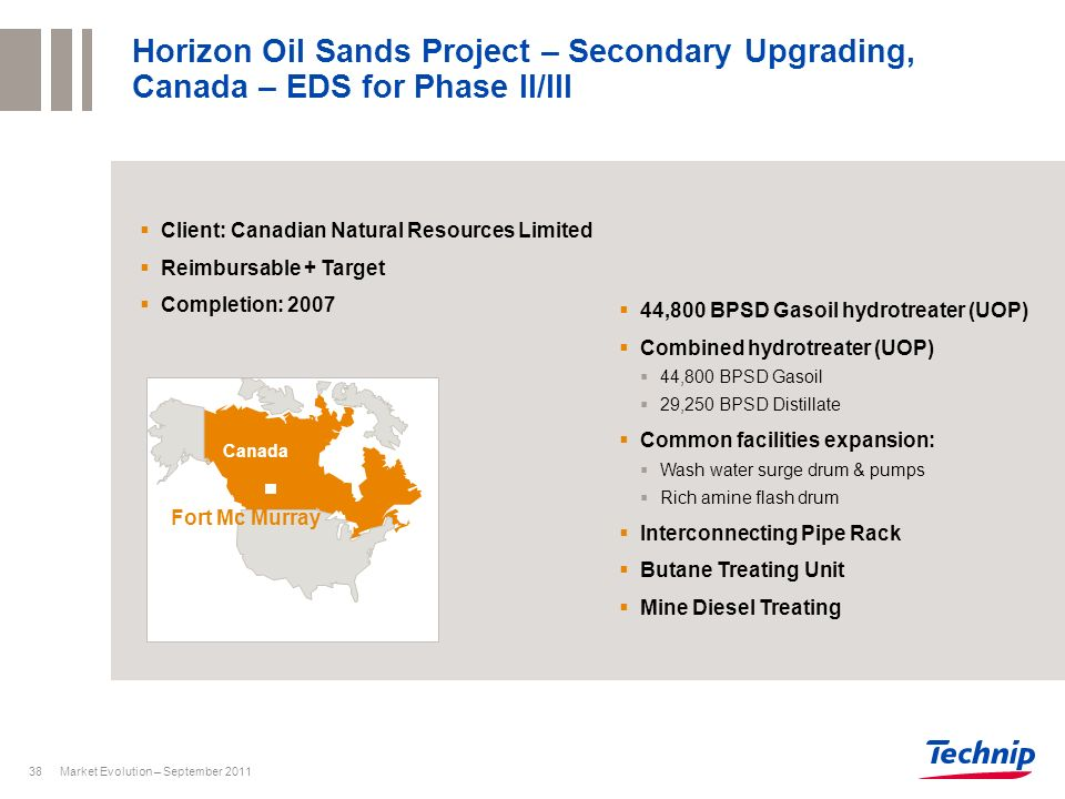 Horizon Oil Sands Project – Secondary Upgrading, Canada – EDS for Phase II/III