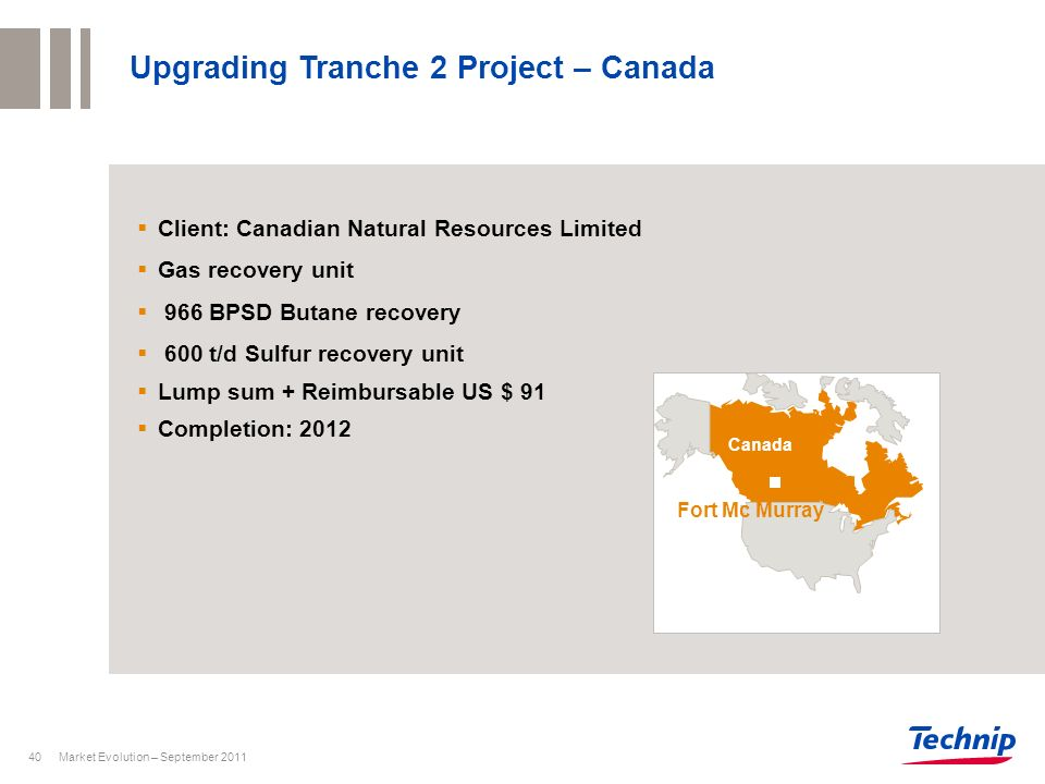 Upgrading Tranche 2 Project – Canada