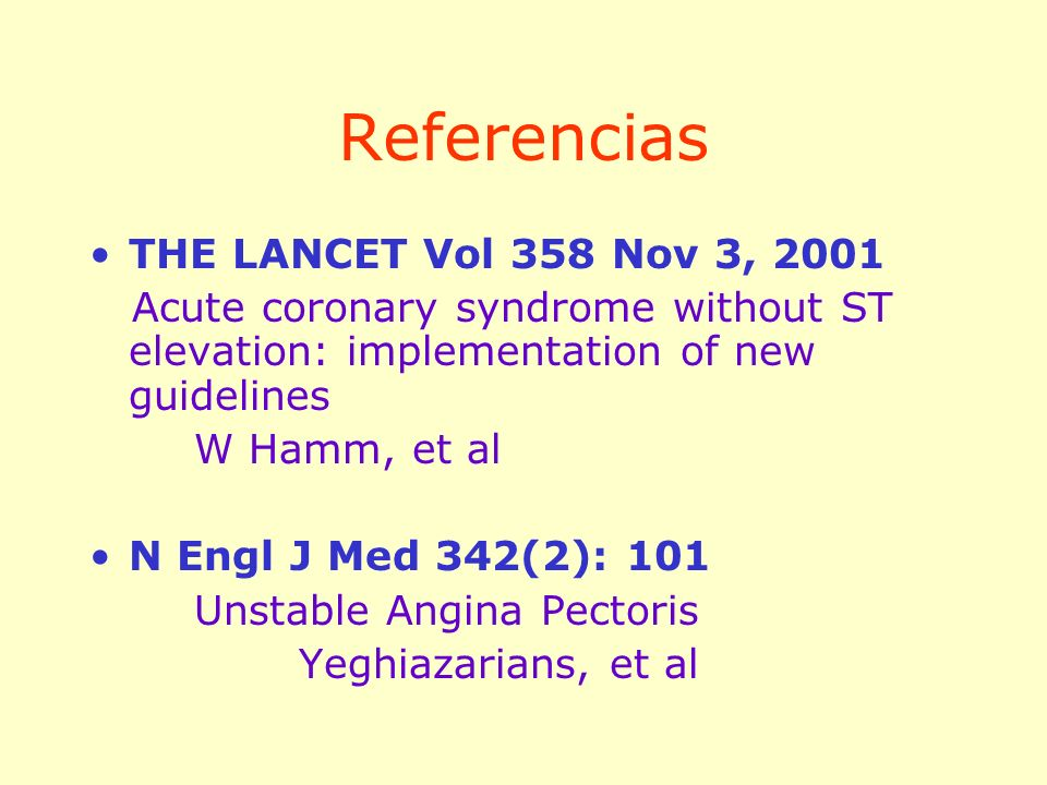 Referencias THE LANCET Vol 358 Nov 3, 2001