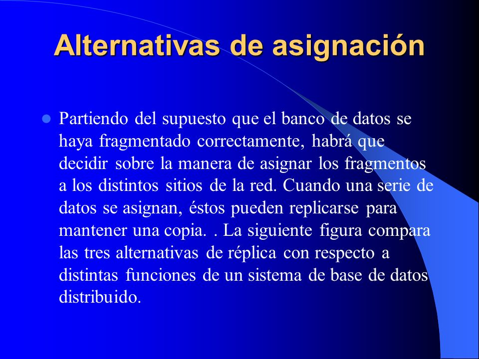Alternativas de asignación