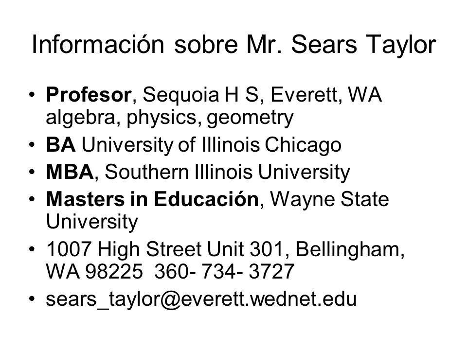 Información sobre Mr. Sears Taylor