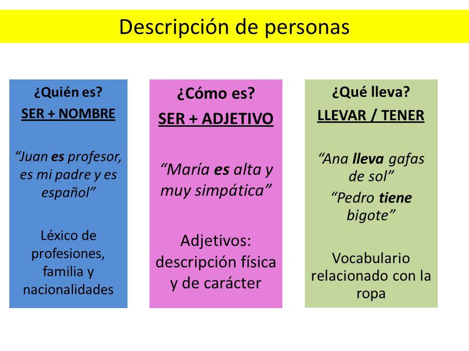 Resultado de imagen de descripcion de personas español