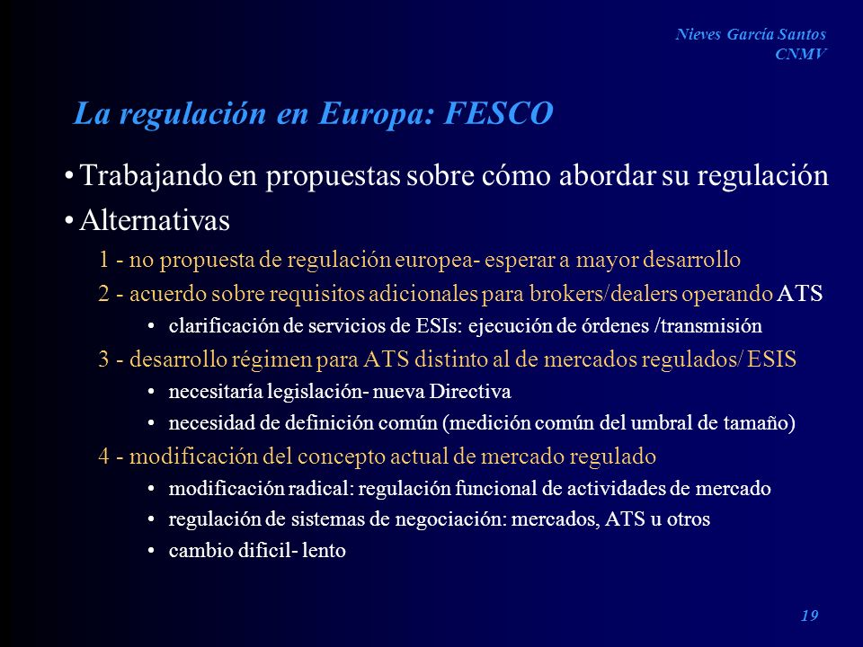 La regulación en Europa: FESCO