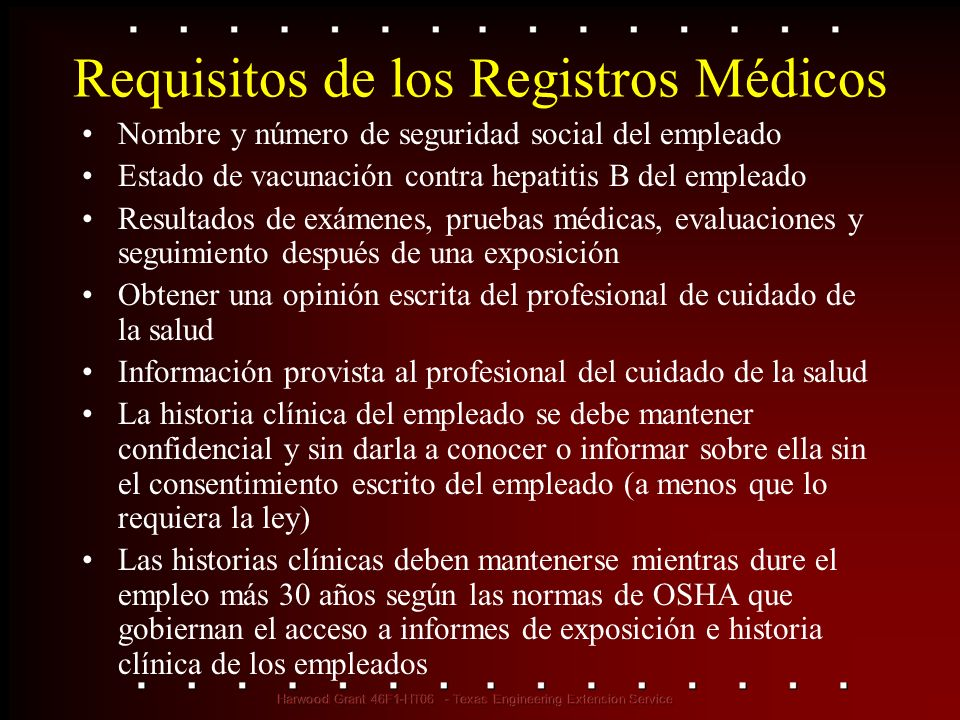 Requisitos de los Registros Médicos
