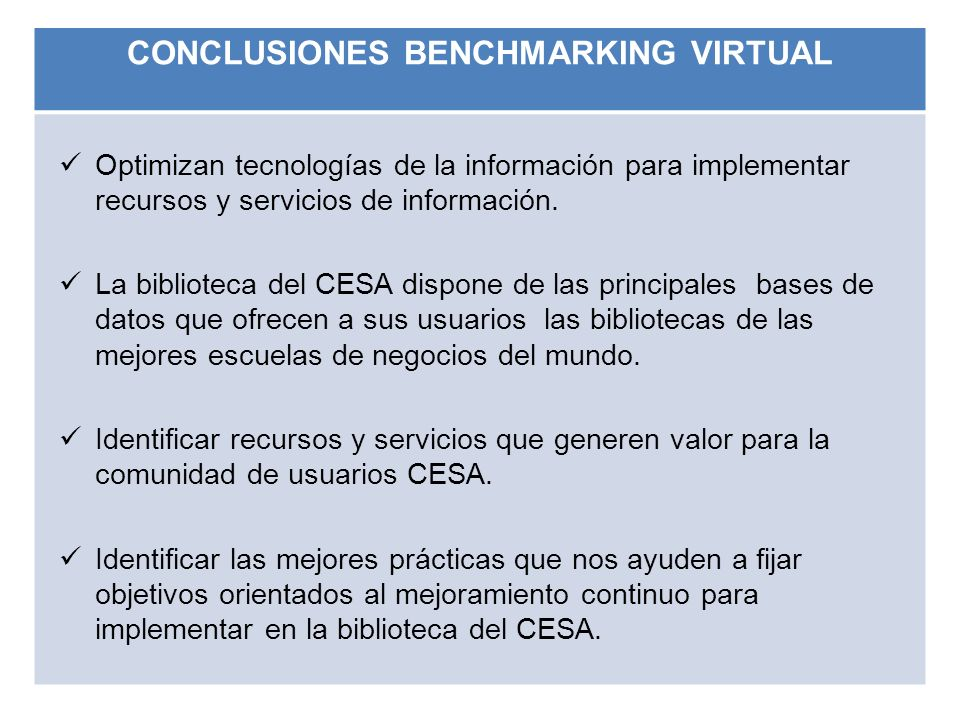 CONCLUSIONES BENCHMARKING VIRTUAL