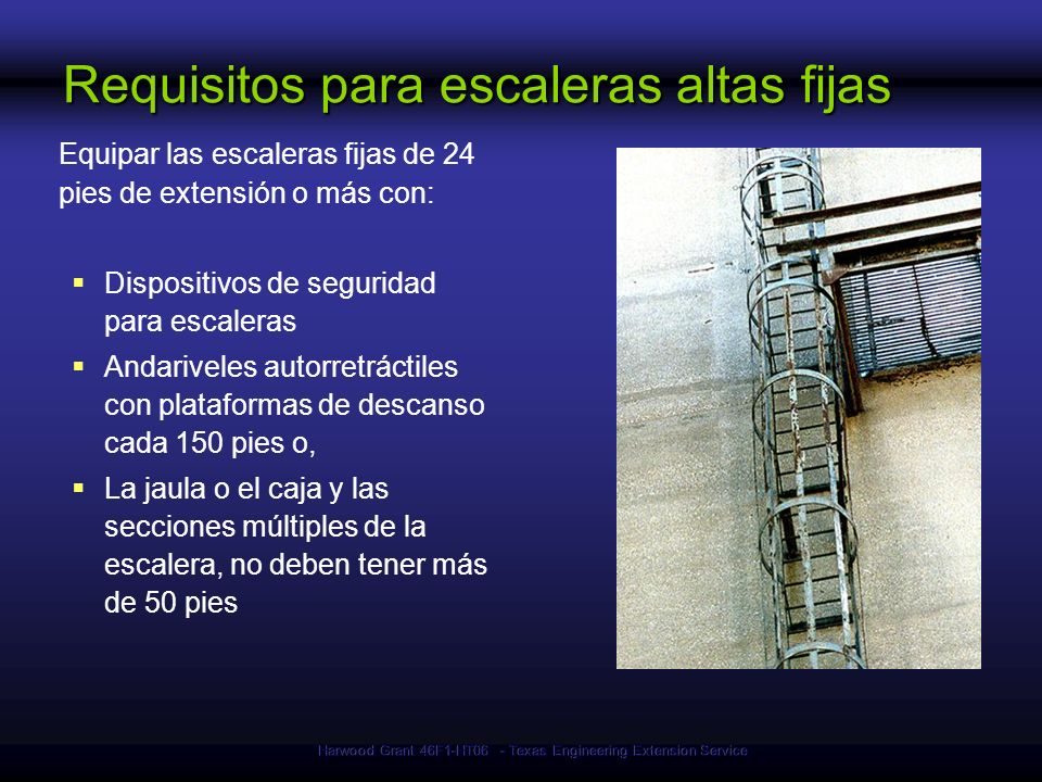 Requisitos para escaleras altas fijas