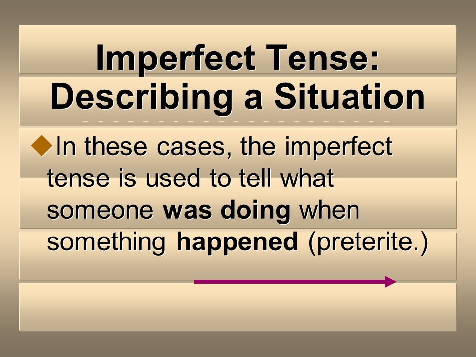 Imperfect Tense: Describing a Situation