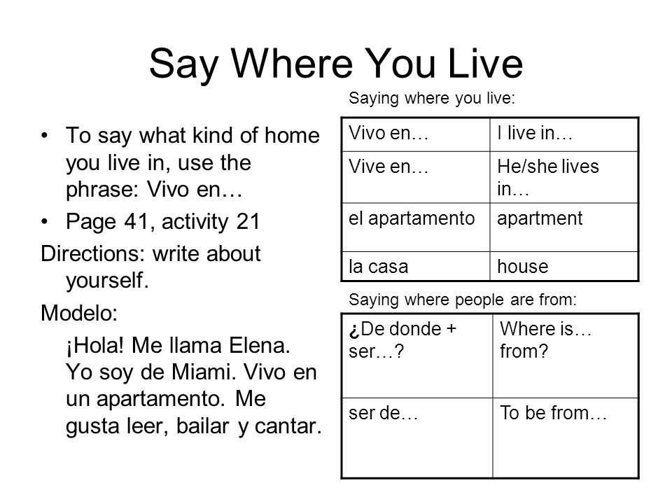 Say Where You Live Saying where you live: To say what kind of home you live in, use the phrase: Vivo en…