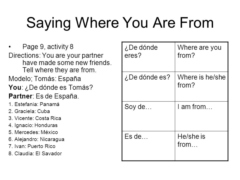 Saying Where You Are From