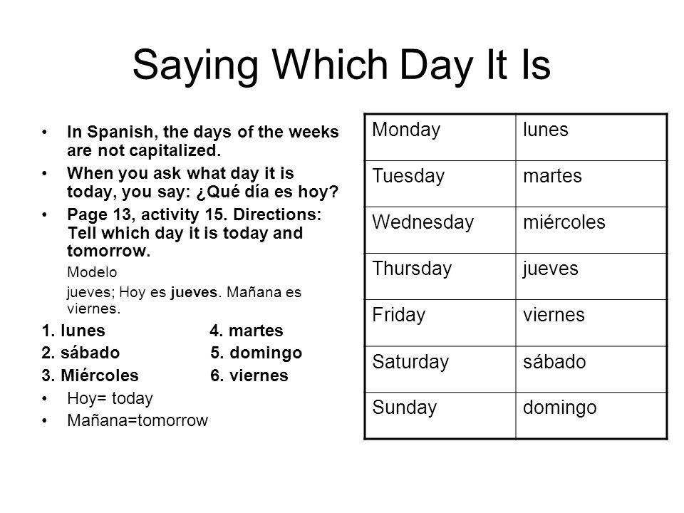 Saying Which Day It Is Monday lunes Tuesday martes Wednesday miércoles