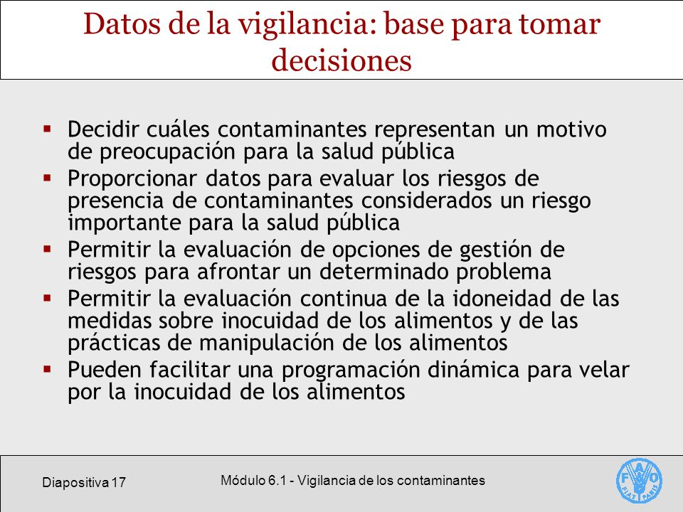 Datos de la vigilancia: base para tomar decisiones