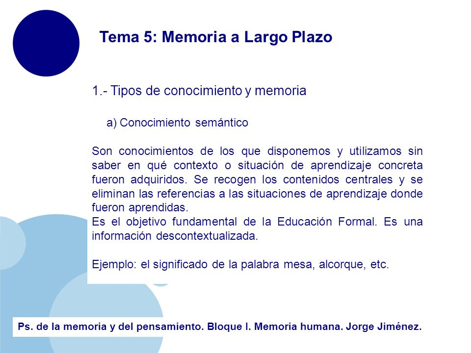 Tema 5 Memoria A Largo Plazo