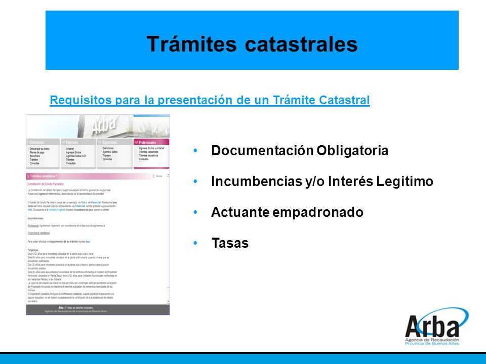 Trámites catastrales Documentación Obligatoria