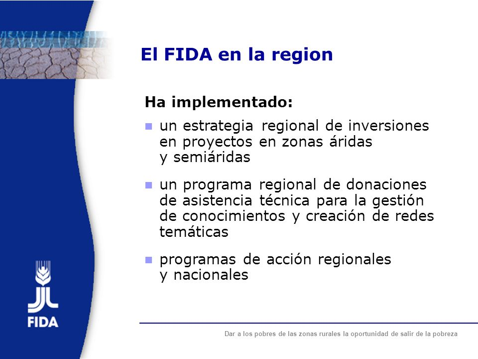 El FIDA en la region Ha implementado: